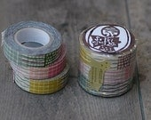 Japanese Textile Pattern Washi Tape Set of 3 wiggly lines, circle dots, grid 15mm