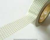 Japanese Washi Tape KHAKI GREY Checker Grid 15mm MT