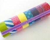 Mini Washi Tape Starter Kit MEDIUM (C) Set of 8 Japanese Masking Tape rolls- PrettyTape 157ft total