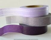 Japanese Masking Tape - VIOLET PURPLE Dot Grid Solid  - Set of 3