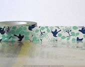 Woodland Navy Teal Bird Tree, Leaves, Japanese Washi Tape Fall Pattern Masking Tape 15mm