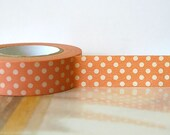 Japanese Washi Tape PEACH PINK  Polka Dots 15mm Gift Packaging