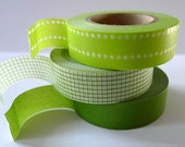 GREEN Washi Tape Green Japanese Tape in Dot Grid - Set of 3 from Pretty Tape