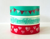 Japanese Washi Tape Set of 3 PARTY Time Turquoise Garland Bunting, Music Note, Red Heart