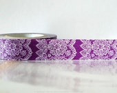 Vertical Purple Lace Trim Paper lace Washi Tape Japanese 15mm Single 49ft