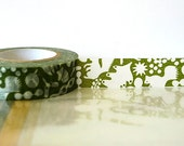 Japanese Washi Tape - GREEN Squirrel, Acorn, Leaves Masking Tape 15mm for Cardmaking