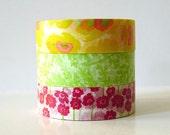 Japanese Washi Tape Yellow POPPY, Green Leaves, Pink Poppy Flowers masking tapes - Set of 3 PrettyTape
