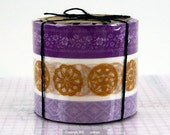 Japanese Masking Tape NEW - Floral Antique Button Pattern Set of 3 PURPLE