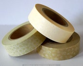 Off White Wedding Decor Floral Japanese Paper Washi Tape with Beige, Champagne Set of 3