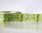 Vertical GREEN Lace Trim Paper Washi Tape Japanese 15mm Single 49ft