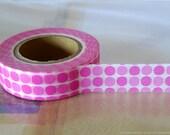 Retro Pink MEDIUM Dots Japanese Washi Tape - 15mm