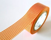 Orange Washi Tape Horizontal Stripe LINES 15mm Japanese MT Masking Tape - PrettyTape
