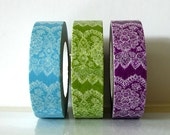 Vertical Lace Tape -  Japanese Green Lace, Blue Lace, Purple Lace Washi Tapes (Choose Single of By Set)