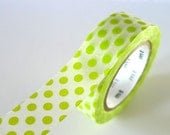 Light Green Washi Tape BIG DOTS 15mm Japanese MT Masking Tape - PrettyTape