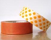 Dots Stripe ORANGE Washi Tape 15mm Japanese MT Masking Tape - PrettyTape