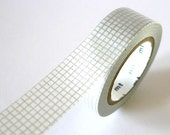 Grey SILVER GRID Washi Tape 15mm Japanese MT Masking Tape - PrettyTape