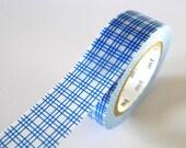 Blue Square GRID Washi Tape 15mm Japanese MT Masking Tape - PrettyTape