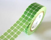 GREEN Square GRID Washi Tape 15mm Japanese MT Masking Tape - PrettyTape