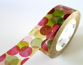 GREEN MAROON Spots Japanese Washi Tape MT Colorful Dots - Pretty Tape