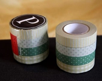 Japanese Masking Tape set of 4 - Stripe Dots Grid 13mm (P)