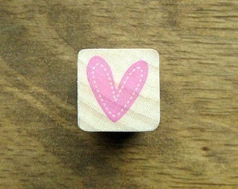 Wooden Heart Rubber Stamp w/ Stitch border Heart Stamp Wedding Stamp