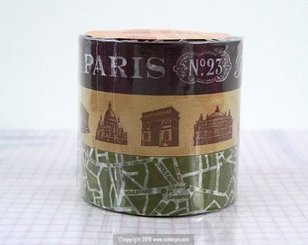 Japanese Washi Tape - Paris Map Monuments BROWN