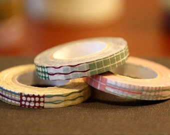 Japanese Textile Paper Pattern Washi Tape - lines with circle, dot, and grid 8mm - set of 3