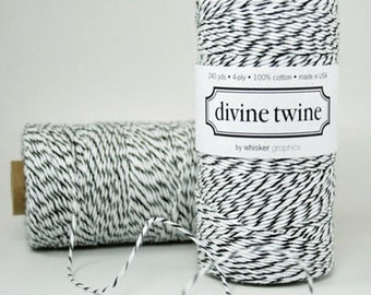 LICORICE BLACK Bakers Twine Black and White Stripe 240 Yards - Cotton Baker's Twines