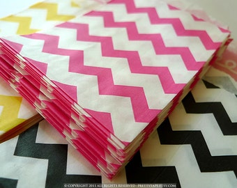 Party Favor Bags PINK Chevron Paper Bags Popular Wedding, BIrthday Party Bags - Packet of 20