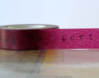 Japanese Washi Tape - BURGUNDY Wine Color Numbers Pattern 15mm SINGLE