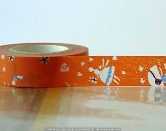 Japanese Washi Tape Orange LOVE LETTER Girl Pattern 15mm SINGLE