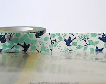 Washi Tape Woodland Navy Teal Bird Tree, Leaves, Japanese Washi Tape Fall Pattern Masking Tape 15mm