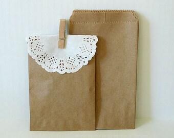 Kraft Paper Bags Brown Paper Bags Wedding Favor Bags - 50 BLANK 3 1/4 x 5 1/4 in Birthday