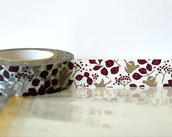 Japanese Washi Tape Woodland Brown Bird Tree, Leaves, Fall Washi tape Masking Tape 15mm Fall Wedding