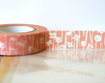 Japanese Washi Tape - Small Flowers Peach Pink Masking Tape 15mm
