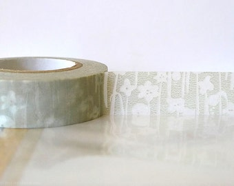 Japanese Washi Tape TAN Grey Masking Tape Small Flowers 15mm Gift Package, Cardmaking