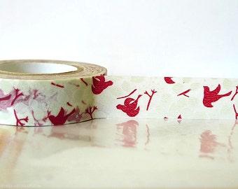 Japanese Washi Tape - RED Bird Tree, Leaves, Fall Pattern Masking Tape 15mm