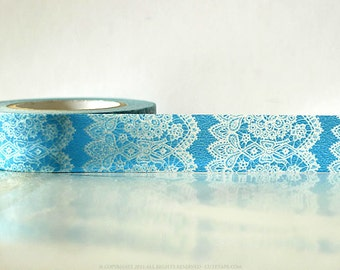 Vertical Blue Lace Trim Paper Washi Tape Japanese 15mm Single 49ft