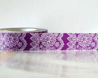 Vertical Purple lace Washi Tape Lace Trim Paper Tape Japanese 15mm Single 49ft