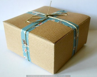 Kraft Favor Box 4x4x2 BLANKS paper gift boxes - Set of 20