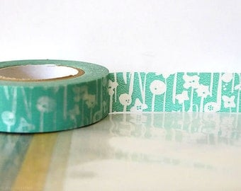 Pretty Japanese Washi Tape - Small Flowers Aqua BLUE Masking Tape 15mm Gift Package, Wedding, Scrapbooking