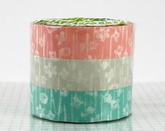 Small Flower Washi Tape Set of 3 Japanese Washi Paper - PrettyTape
