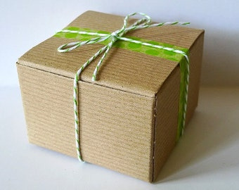 Kraft Gift Box Small 3x3x2 BLANKS  - Set of 20 Holiday Gift Wrap Wedding Favor Boxes