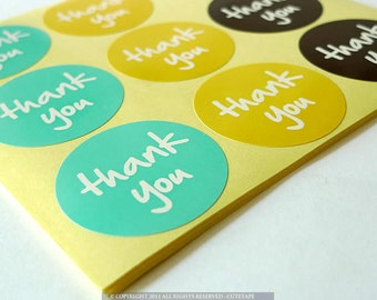 Favor Thank You Stickers 90 ROUND Thank You Labels Stickers Turquoise, Yellow, Brown