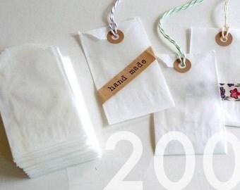 200 Cute SMALL Flat Glassine Bags 2 x 3.5 in