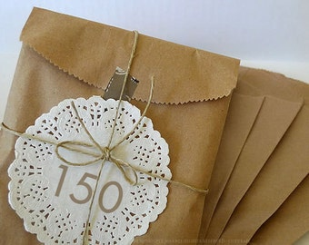 150 BLANK 5x7 Paper Bags Kraft Bag Gift Packaging