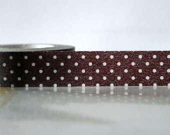 Japanese Washi Tape - White on BLACK Polka Dots Pattern 15mm SINGLE