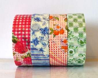MT ex Flower Washi Tape  SET of 4 Red Japanese MT Masking Tape Blue, Orange, Green