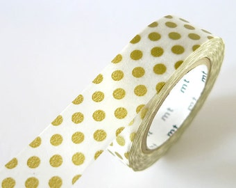 Japanese Gold Washi Tape BIG Dots 15mm Japanese MT Gold Masking Tape - diy Wedding Invitation Seal Bridal Shower  PrettyTape