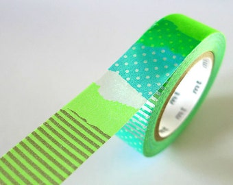 Bright Green PATCH Collage Washi Tape 15mm Japanese MT Masking Tape - PrettyTape Packaging